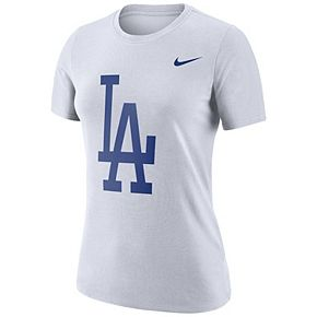 Women's Nike White Los Angeles Dodgers Logo Dry Performance T-Shirt