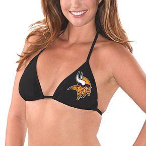 Women's G-III 4Her by Carl Banks Black Minnesota Vikings Breaking Waves Bikini Top