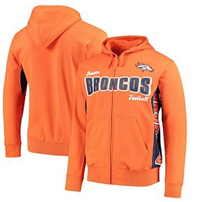 Men's Hands High Orange/Navy Denver Broncos Player Full-Zip Hoodie