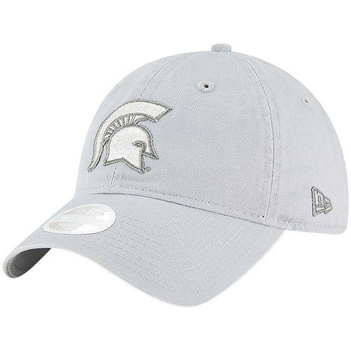 Women's New Era Gray Michigan State Spartans Team Glisten Lightly Structured 9TWENTY Adjustable Hat