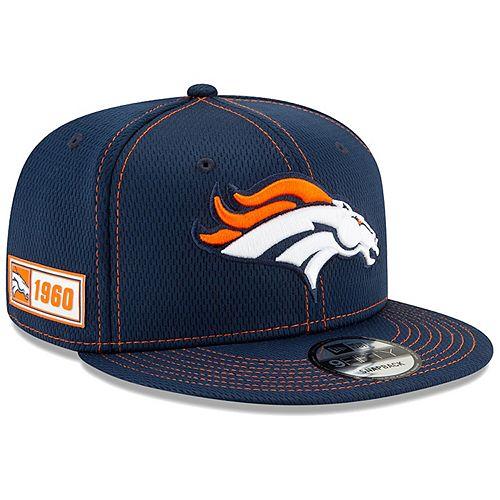 Men's New Era Navy Denver Broncos 2019 NFL Sideline Road Official 9FIFTY Snapback Adjustable Hat