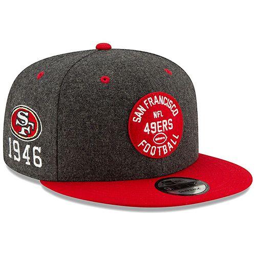 Men's New Era Heather Charcoal/Scarlet San Francisco 49ers 2019 NFL Sideline Home Official 9FIFTY 1940s Snapback Adjustable Hat