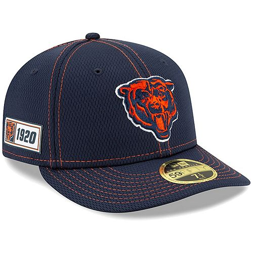 Men's New Era Navy Chicago Bears 2019 NFL Sideline Road Official Low Profile Head 59FIFTY Fitted Hat