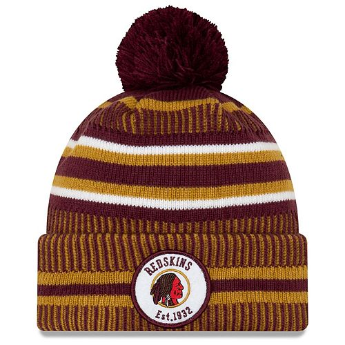 Men's New Era Burgundy/Gold Washington Redskins 2019 NFL Sideline Home Official Historic Logo Sport Knit Hat