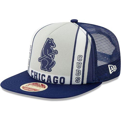 Men's New Era Royal Chicago Cubs Heritage Banner A-Frame Trucker 9FIFTY Snapback Hat