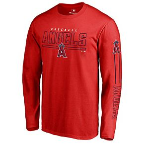 Men's Fanatics Branded Red Los Angeles Angels Front Line Long Sleeve T-Shirt