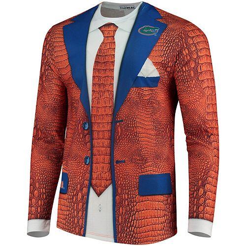 Men's Faux Real Apparel Multi Florida Gators Faux Suit Long Sleeve Shirt