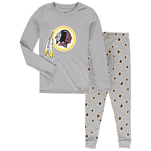 Youth Heathered Gray Washington Redskins Long Sleeve T-Shirt & Pants Sleep Set