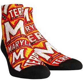 Men's Maryland Terrapins Logo Sketch Quarter-Length Socks