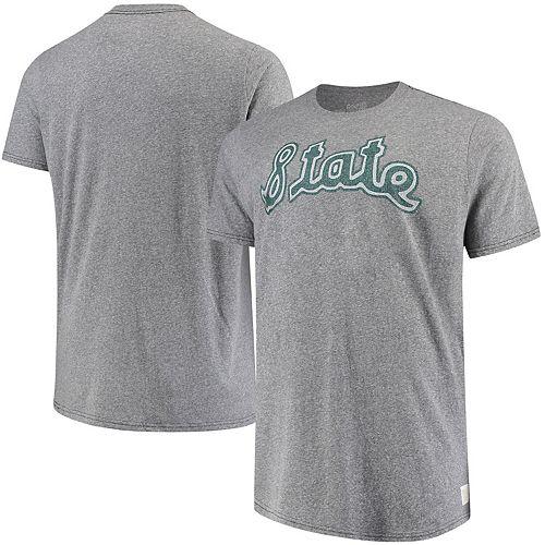 Men's Original Retro Brand Gray Michigan State Spartans Big & Tall Tri-Blend T-Shirt