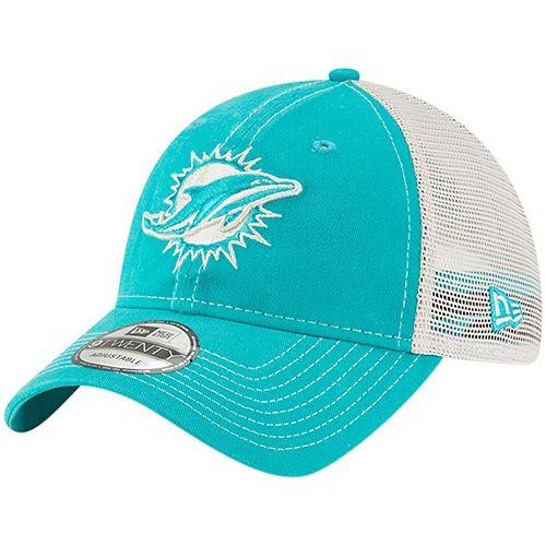 Men's New Era Aqua Miami Dolphins Rustic Mark Trucker 9TWENTY Adjustable Hat