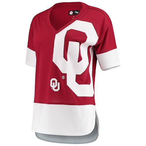 Women's G-III 4Her by Carl Banks Crimson/White Oklahoma Sooners 1st Place V-Neck T-Shirt