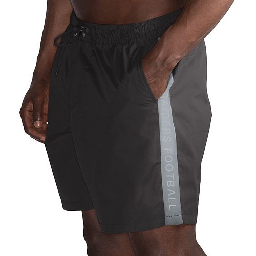 Men's G-III Sports by Carl Banks Black/Silver Oakland Raiders Volley Swim Trunks