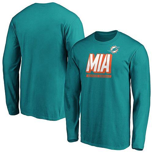 Men's Majestic Aqua Miami Dolphins Iconic Tricode Logo Long Sleeve T-Shirt
