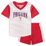 Infant White/Red Philadelphia Phillies Little Hitter V-Neck T-Shirt & Shorts Set
