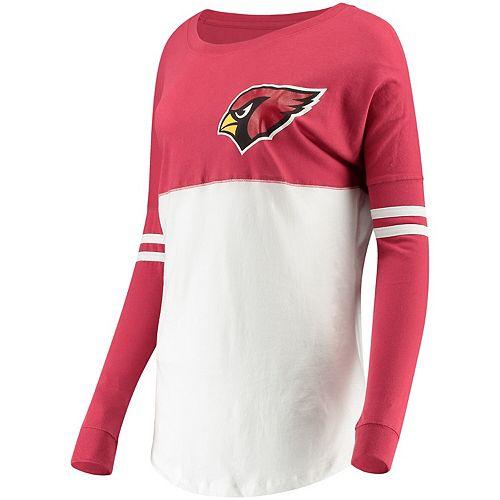 Women's 5th & Ocean by New Era Cardinal/White Arizona Cardinals Team Logo Athletic Varsity Long Sleeve T-Shirt