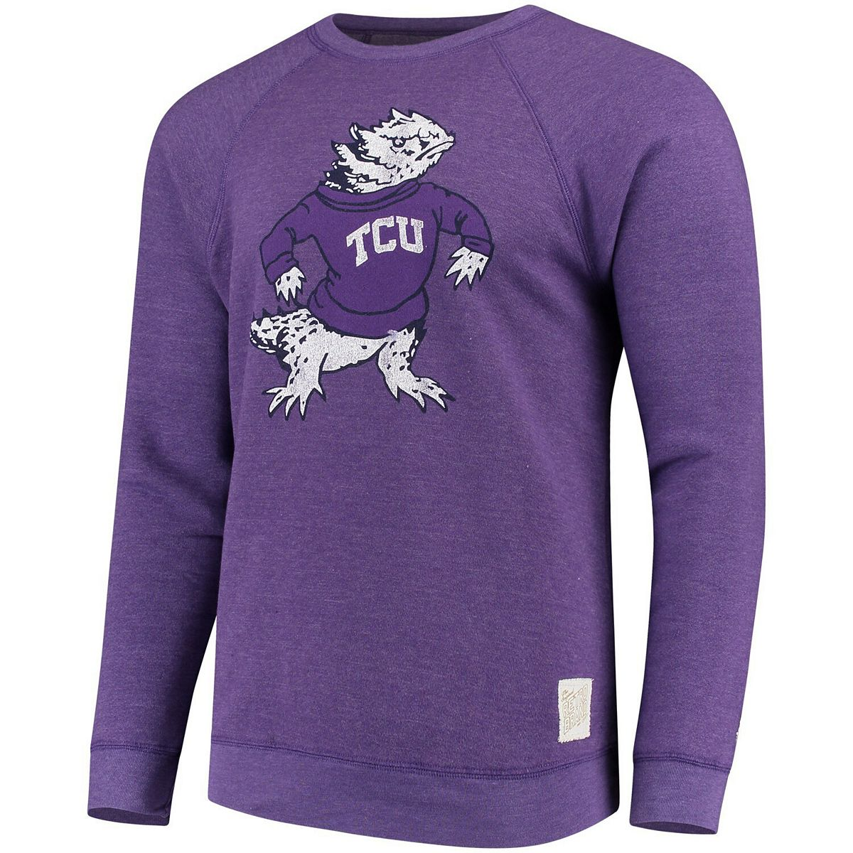 Men's Original Retro Brand Heathered Purple TCU Horned Frogs School Logo Tri-Blend Pullover Sweatshirt zFxLr