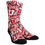 Men's Red Utah Utes Logo Sketch Crew Socks
