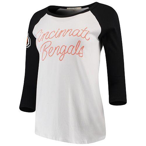 Women's Junk Food White/Black Cincinnati Bengals Retro Script Raglan 3/4-Sleeve T-Shirt