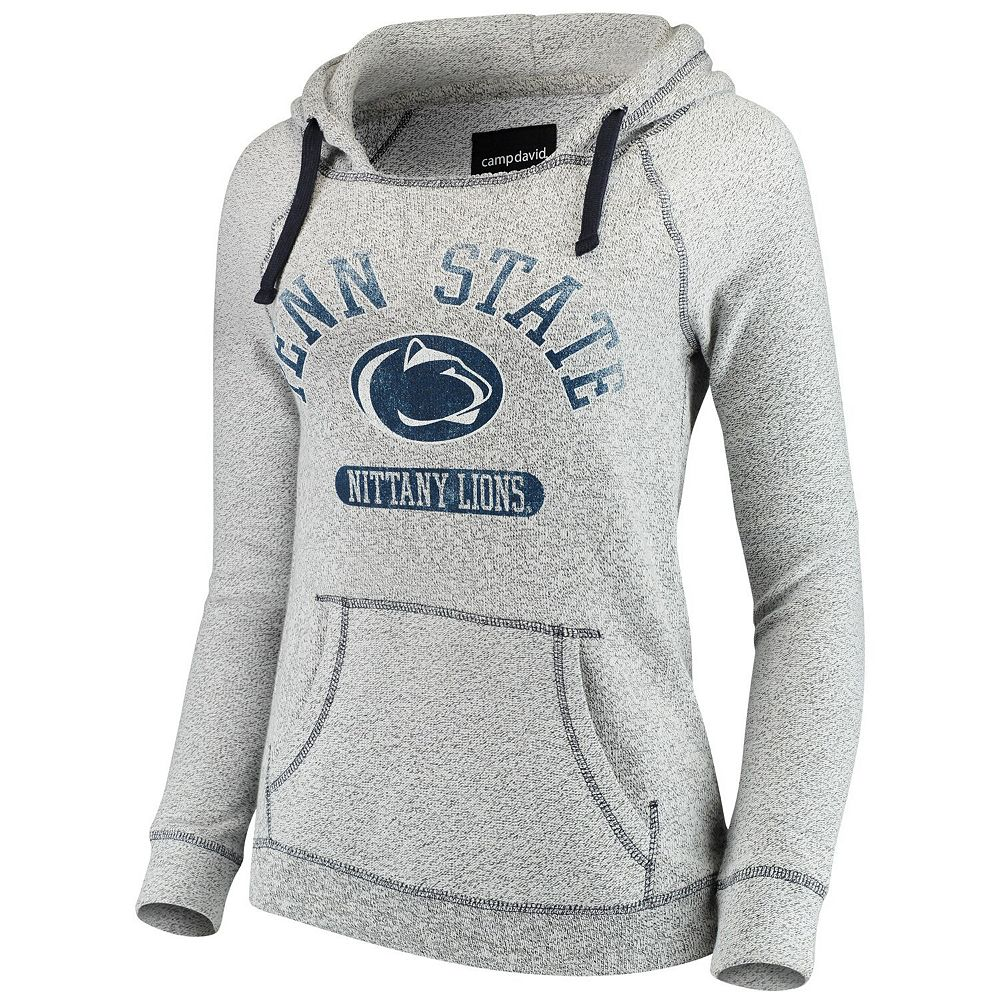 Women's Heathered Gray Penn State Nittany Lions Horizon Comfy Knit Terry Hoodie