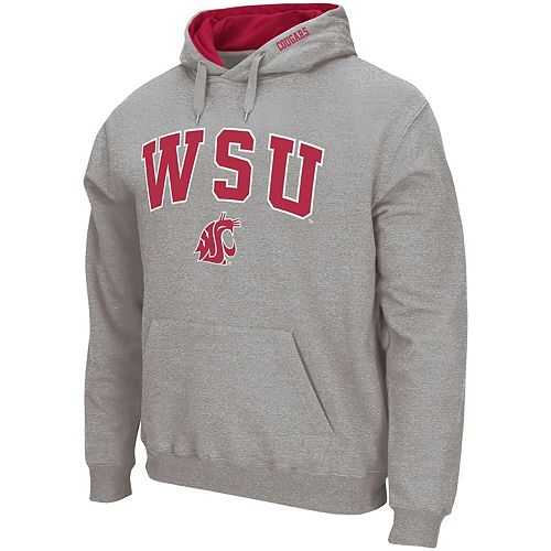 Men's Colosseum Heather Gray Washington State Cougars Arch & Logo Tackle Twill Pullover Hoodie