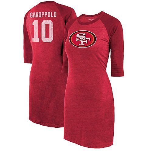 Women's Majestic Threads Jimmy Garoppolo Scarlet San Francisco 49ers Tri-Blend 3/4-Sleeve Raglan Player Name & Number Dress
