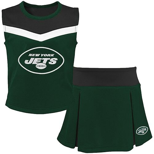 Girls Youth Green/Black New York Jets Two-Piece Spirit Cheerleader Set