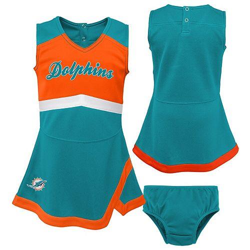 Girls Preschool Aqua/Orange Miami Dolphins Cheer Captain Jumper Dress