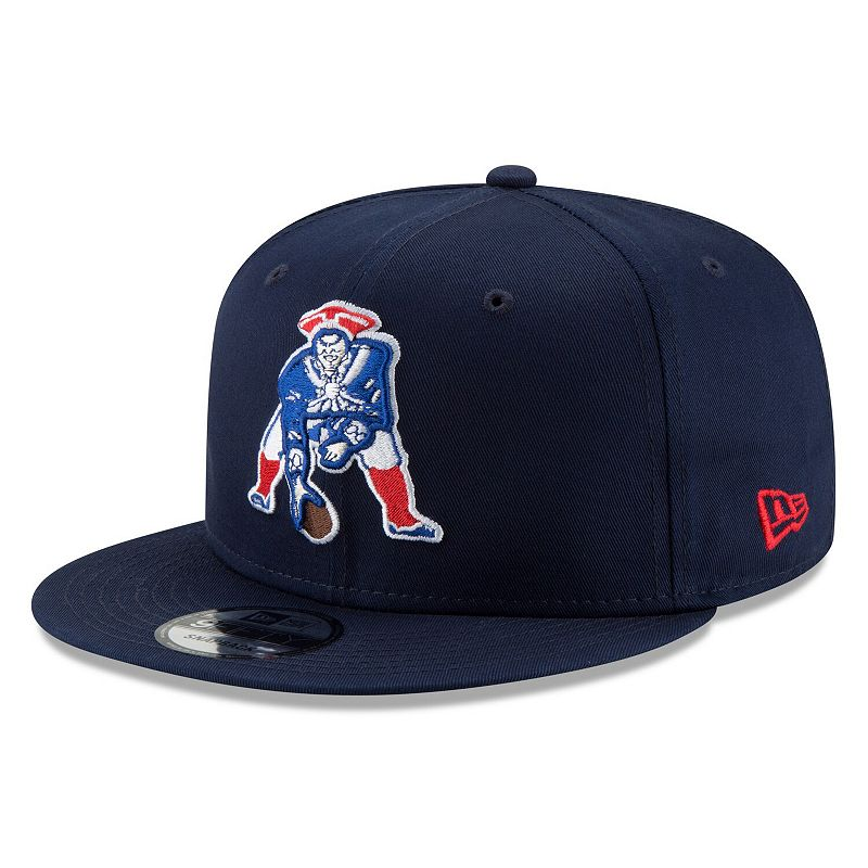Men's New Era Navy New England Patriots Throwback 9FIFTY Adjustable Snapback Hat. Blue