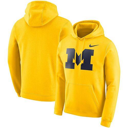 Men's Nike Maize Michigan Wolverines Logo Club Fleece Pullover Hoodie