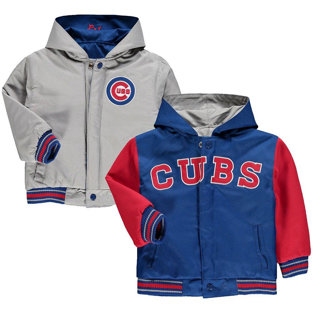 Toddler JH Design Royal Chicago Cubs Reversible Hooded Jacket