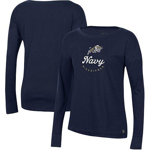 Women's Under Armour Navy Navy Midshipmen Logo Performance Long Sleeve T-Shirt