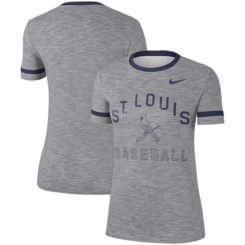 Women's Nike Gray St. Louis Cardinals Slub Ringer Performance T-Shirt, Size: Large, Grey