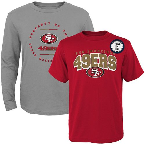 Youth Scarlet/Heathered Gray San Francisco 49ers Club Short Sleeve & Long Sleeve T-Shirt Combo Pack