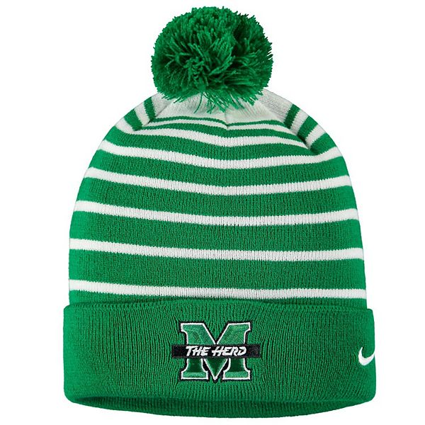 Men's Nike Kelly Green Marshall Thundering Herd Team Logo Sideline Cuffed Knit Hat with Pom