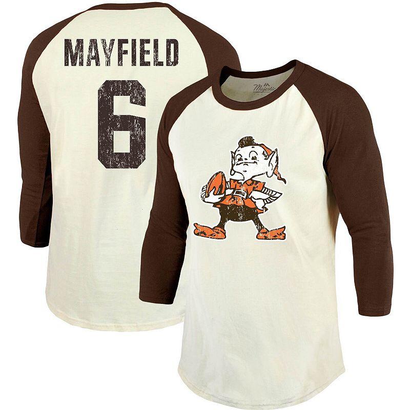 Baker Mayfield Cleveland Browns Majestic Threads Vintage Inspired Player Name & Number 3/4-Sleeve Raglan T-Shirt - Cream/Brown. Men's. Size: Small.