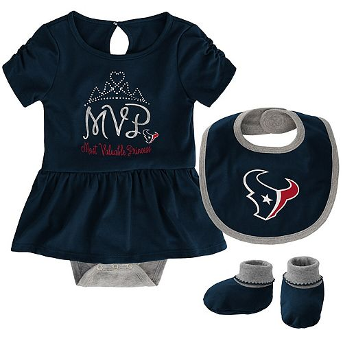 Girls Newborn Navy Houston Texans MVP Bodysuit, Bib & Booties Set