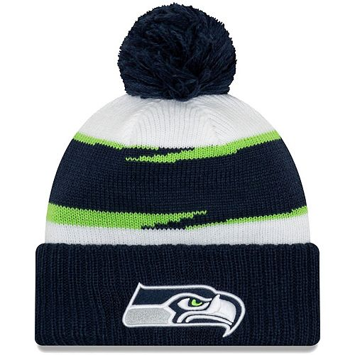 Men's New Era White/College Navy Seattle Seahawks Thanksgiving Cuffed Pom Knit Hat