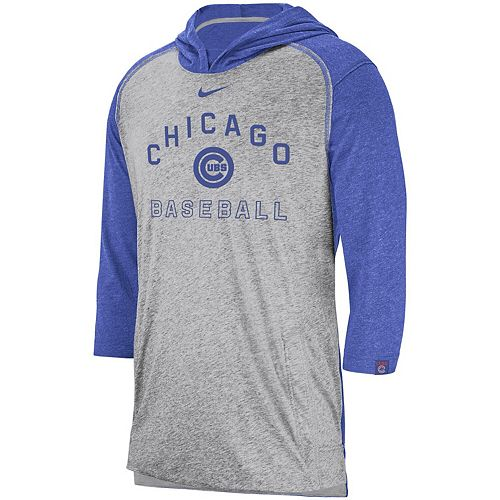 Men's Nike Heathered Gray Chicago Cubs Flux Performance 3/4-Sleeve Pullover Hoodie