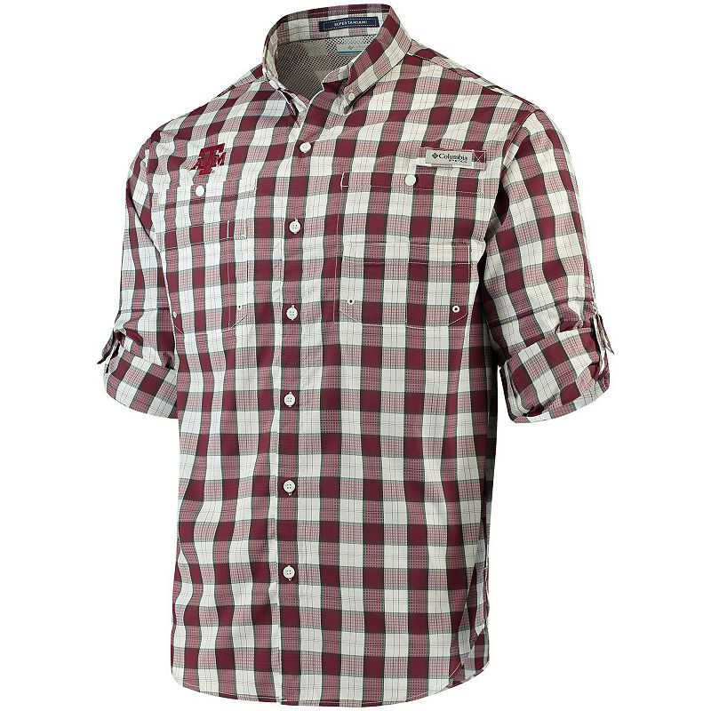 Men's Columbia Maroon Texas A&M Aggies Super Tamiami Long Sleeve Button-Down Omni-Shade Shirt. Size: Large. Red