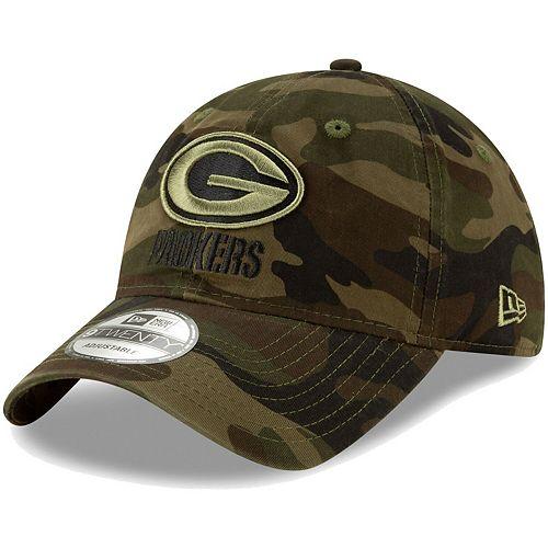 Men's New Era Camo Green Bay Packers Core Classic Woodland Camo Tonal 9TWENTY Adjustable Hat