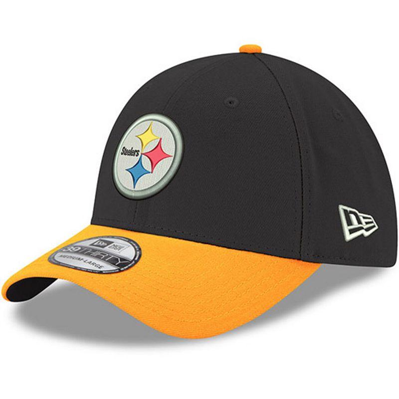 Men's New Era Black/Gold Pittsburgh Steelers Team Classic Two-Tone 39THIRTY Flex Hat. Size: Small/Medium
