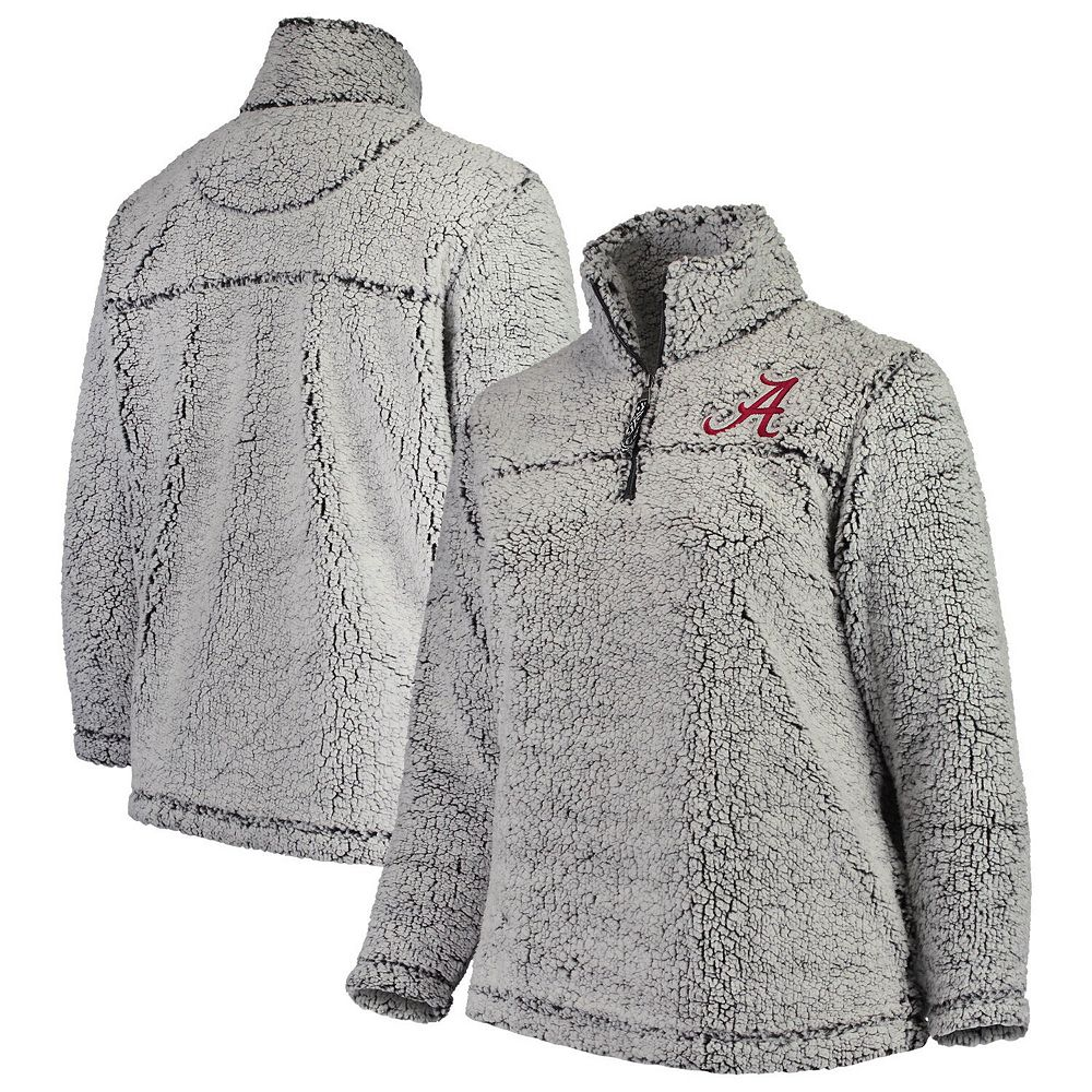 Women's Heathered Gray Alabama Crimson Tide Plus Size Sherpa Quarter-Zip Pullover Jacket