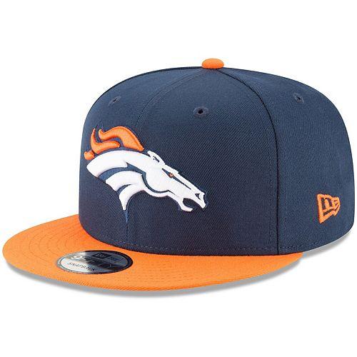 Men's New Era Navy/Orange Denver Broncos Basic 9FIFTY Adjustable Snapback Hat