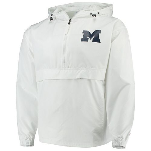 Men's Champion White Michigan Wolverines Tailgate Packable Half-Zip Jacket