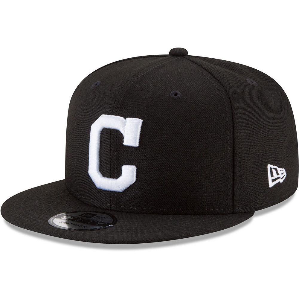 Men's New Era Black Cleveland Indians Black & White 9FIFTY Snapback Hat