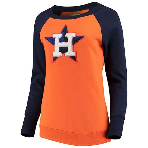 Women's G-III 4Her by Carl Banks Orange Houston Astros Top Ranking Tunic Raglan Crew Sweatshirt