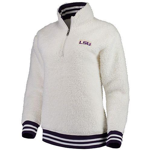 Women's Cream LSU Tigers Varsity Banded Sherpa Quarter-Zip Pullover Jacket