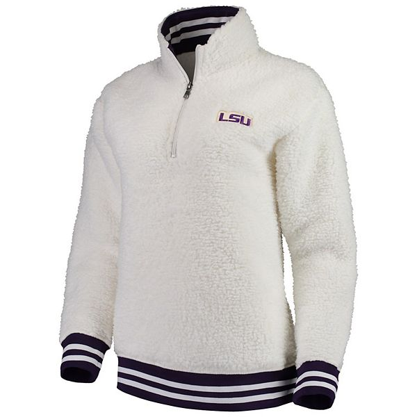 Women's Cream LSU Tigers Varsity Banded Sherpa Quarter-Zip Pullover Jacket