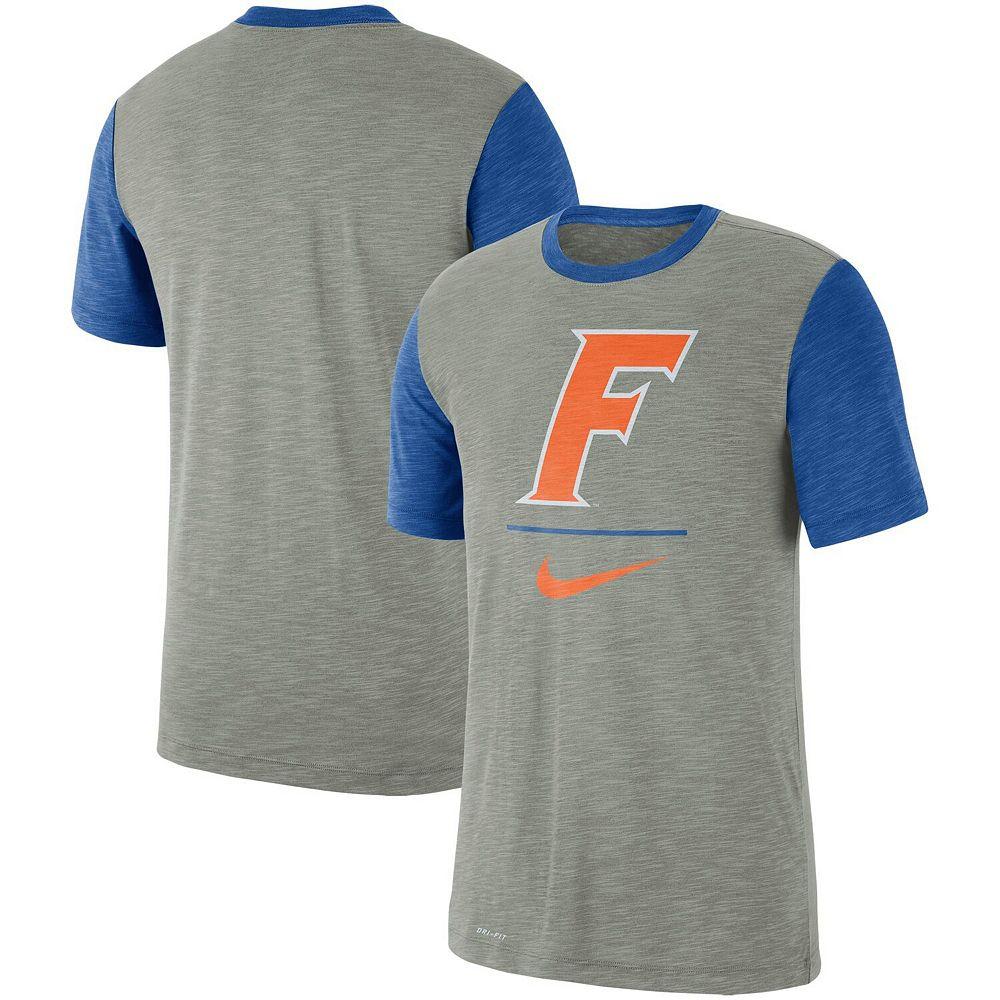 Men's Nike Heathered Gray/Royal Florida Gators Baseball Performance Cotton Slub T-Shirt